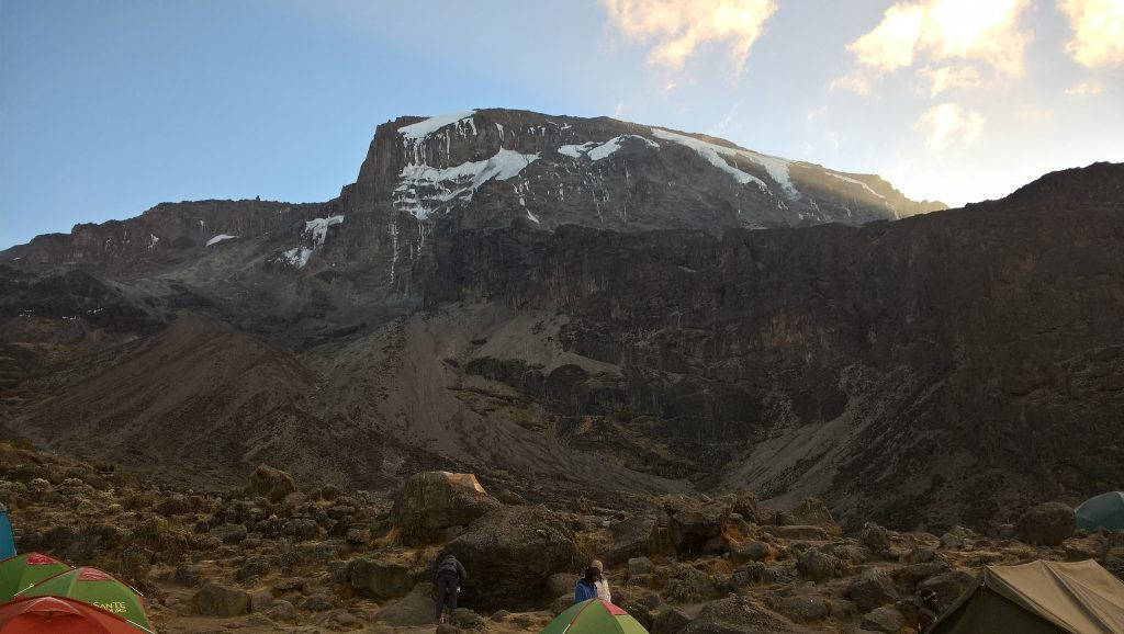 Barranco Wall from our camp site – yes, vertically up that sheet of rock....